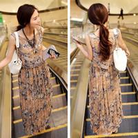 Direct wholesale 2014 Korean Fan Fashion Bohemian beach skirt chiffon dress long skirt Camisole