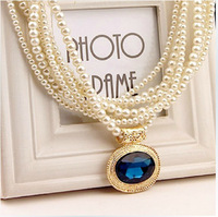 X132 free shipping Korea fashion Crystal necklace beautiful  ladies pearl necklace