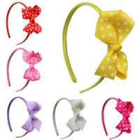 Free Shipping Lovely princess hair band girls dots DIY bowknot Hair Clasp (8 Pack)
