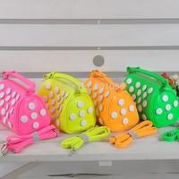2014 new arrival cute button dot children Fluorescence 4 colors Messenger Bag girls Handbags gift for kid
