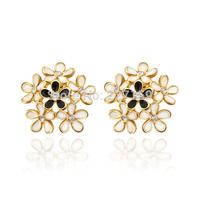Wholesale Elegant 18K Yellow Gold Plated Women's Stud Earrings Flower Austrian Crystal E842