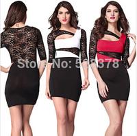 2014 Stitching Lace Dress Woman Pencil Dress Sexy Hollow Party Bodycone Dress Irregular Neckline Package Club Dress t661