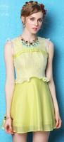 Free shipping 2014 summer new fashion women sleeveless ruffles hollow out organza dress,girl dress