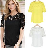 Slim Yellow White Drop Shipping Women's Ladies Lace Patchwork Black Top Blazer 2014 Brand Blouse Shirts Plus Size