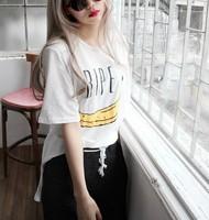 New 2014 Summer Fashion Letter Banana Printed  Short Sleeve O-neck Loose Casual Tee Tops girl t shirt women Free Shipping  410