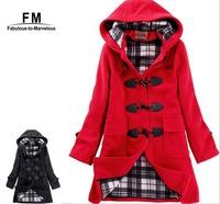 Winter Coat Women 2014 New Women's Warm Coat Hoodies Overcoat Long Jacket Wool & Blends Hooded Casacos Femininos 2014 AW14J006