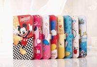 1PCS Cartoon PU Cover For Samsung Galaxy S5 SV I9600 Full Body Case Minnie Mickey Winnie PU Skins to galaxy s5 i9600 Flip Case