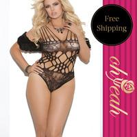 H3030P  Free shipping fetish lingerie see through mesh bodysuit fishnet lingerie bodystocking plus size bodystocking xl