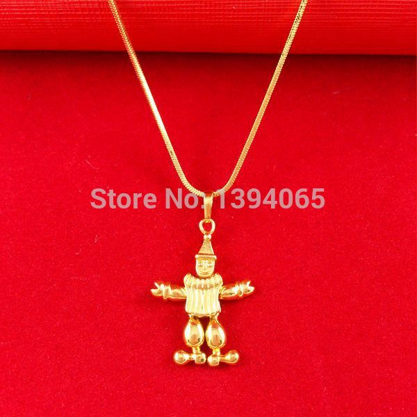 Real 24K Yellow Gold Plated Necklace African Blacks Snake Chains Cartoon Cupid Pendant Necklace Jewelry A007