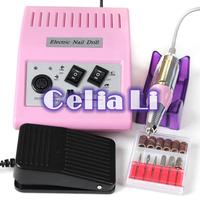 Pink 30000 RPM Pro Electric Art Nail Drill File Improved Overheat Vibration Manicure Set EU /US Plug kit 523 Free Shipping