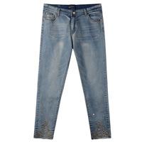 Autumn Spring 2014 New Style Zipper Fly Denim Slim Skinny Womens Jeans Pencil Pants True Blue Free Shipping