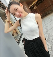New 2014 Summer Korean Women Camis&tank Tops Striped Cotton O-neck Sleeveless Skinny Fit  Casual Tank Free Shipping 866