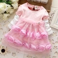 5pcs Children girl's 2014 Spring Autumn girl Rose flower child  1749 layered princess long sleeve dress pink  huluhala