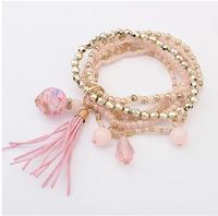5COLORS  Factory fashion new tassel multilayer stretch bracelet women elastic beaded bracelet  XY-B482