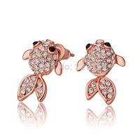 Wholesale 18K Rose Gold Plated Women's Stud Earrings Cute Fish Austrian Crystal E805