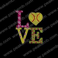 Hotfix Rhinestones Softball Iron On Transfers Love Motif for Sportswear Free Shipping Custom Rhinestone Design 30Pcs/Lot