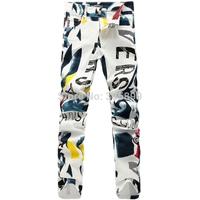 New Fashion 2014 Mens Designer Brand slim print flower letter Denim Jeans Men plus size casual Jean Men's Pants hot