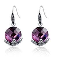 ROXI Platinum Plated Fashion Luxury Jewelry Large Purple Czech Crystals dangle Earrings Long Drop Earrings for Women