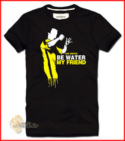 Free Shipping Martial Art Kung Fu Legends Bruce Lee Be Water My Friend T-Shirt Cotton Size S-XXL Black (CTT015) !!