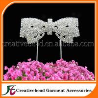 2014 wholesale bowknot rhinestone cake topper wedding decoration free shipping