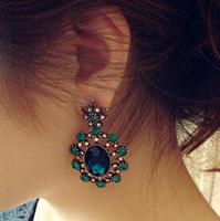 SUE Jewelry high Quality fashion vintage baroque crystal rhinestone luxury earrings Statement Jewelry