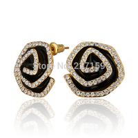 Wholesale Fashion 18K Yellow Gold Plated Women's Stud Earrings Black Flower Austrian Crystal E801
