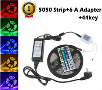 5M 5050 SMD RGB LED Strip 60led/m Flexible Waterproof light For Holiday Home Party Decoration + 44Key Remote + 6A transformer