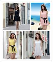 The new 2014 spinning dress European summer beach A word round collar han edition dress