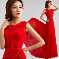 Fashion New Red Boat Neck Lace Flower girl dress Bride Long evening dress vestido de festa prom dresses 2014 party dresses E67
