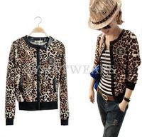 2014 Fashion Womens Leopard Print Zipper Round Neck Long Sleeves Short Jacket Outwears [70-4277]