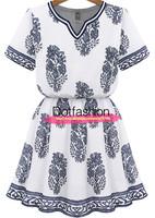 New Arrival 2014 Summer Fashion Women's Casual Elegant Cut Out White Short Sleeve Marilyn Monroe Prints Vintage Dress