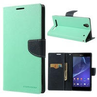 For  Xperia T2 ultra,Mercury Fancy Diary Leather Wallet Cover for Xperia T2 Ultra D5306  Ultra dual D5322 Free Shipping