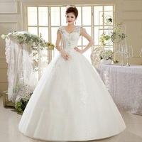 2015 New 100% Actual Images Floor-Length Vintage Slim V-Neck Flowers Backless Lace Maxi Wedding Dress Bridal Gown WD041