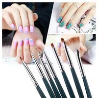 Professional 7pcs/Set Gel UV Nail Print Brush Kit Polish Brush Set Nail Art Design painting Tool Pen