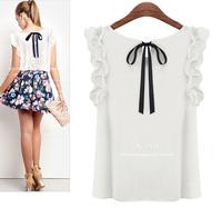 2014 New Fashion Womens Summer O-neck lotus leaf pullover lacing bow chiffon shirt top  Chiffon blouse Free shipping [70-1677]