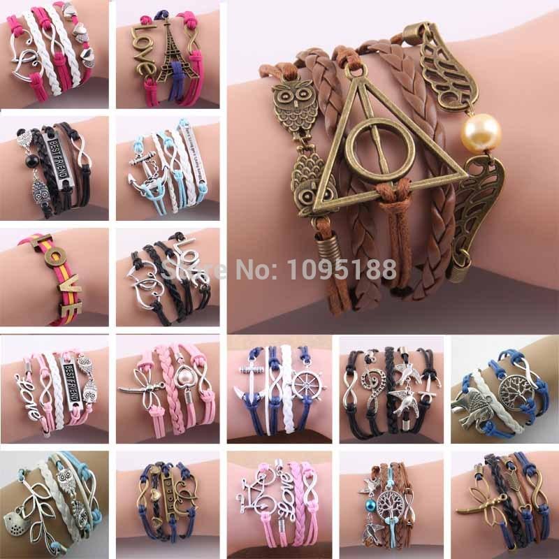Hot Sale Fashion Vintage Bird Tree Owls Infinity Anchors Rudder Rope Bracelet Wrap Leather Bracelet Multilayer bracelets bangles(China (Mainland))