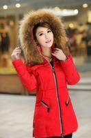 High quality down jacket hooded fur decorate slim design zippered winter coat midium long women's coat  LW286