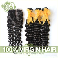 Unprocessed 6A Virgin Malaysian Curly Hair With Closure 4Pcs Lot Curly Malaysian Virgin Hair Weaves And Middle Part Lace Closure