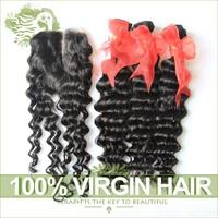Brazilian Deep Wave With Closure Unprocessed Virgin Brazilian Hair Curly 3Bundles Add 1pc Middle Part Lace Closures Ms Lula Hair