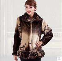 New 2014 woman winter women fur coat velvet imitation mink overcoat  clothing women's fur coat size L XL XXL XXXL XXXXL