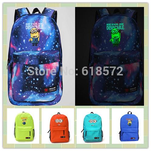 New 2014 Luminous cartoon Despicable Me Minions kids backpack printing galaxy Canvas Backpacks Kid School Bags rucksack laptop(China (Mainland))