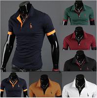 Fast delivery wholesale brand Men T-Shirts 2014 best quality men t shirt, turn-down collar t-shirts men, fashion summer t shirt