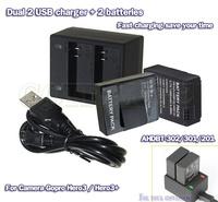 2pcs 1600mAh AHDBT-301 201 AHDBT-302 Battery +1pcs Dual channel USB Charger for GoPro HD Hero3+ plus Go pro 3 camera accessories