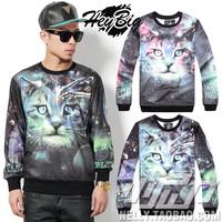 2014 new fashion 3d three-dimensional large cat digital print hoodies male women's lovers 100% cotton sweatshirt outerwear