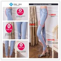 Women's 2014 100% cotton elastic trousers slim water wash Women hole jeans