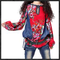 Wholsale 2014 Autumn Women's vintage denim patchwork print loose blouse shirt