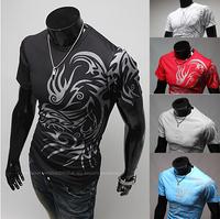2014 New Mens Summer Tops Tees Short Sleeve t shirt Man Plus Size Start Printed Men Cotton t-shirt