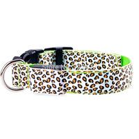 100pcs/lot  Leopard grain stripe panther print adjustable LED flashing dog safety collar collars Pet Pets Collar Dog Cat collars