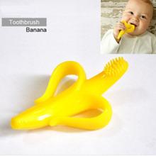 Venta caliente de Orange Seguridad Eco - amigables plátano del bebé Mordedor dentición de silicona cepillo de dientes anillos de dentición de higiene bucal(China (Mainland))