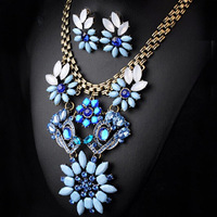 Retro crystal flower necklace X4615